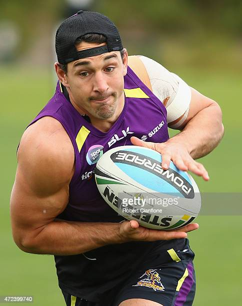 Billy Slater of the Storm runs with the ball during a Melbourne Storm NRL training session at Gosch's Paddock on May 7 2015 in Melbourne Australia