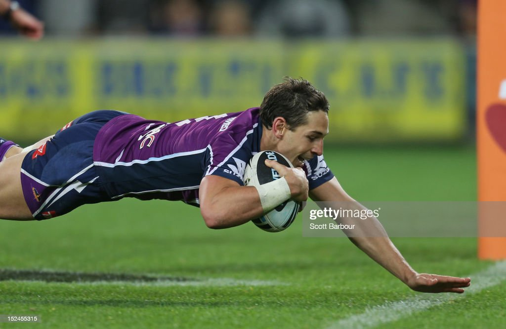 Billy Slater of the Storm scores a try in the second half during the NRL Preliminary Final match between the Melbourne Storm and the Manly Sea Eagles at AAMI Park on September 21, 2012 in Melbourne, Australia.