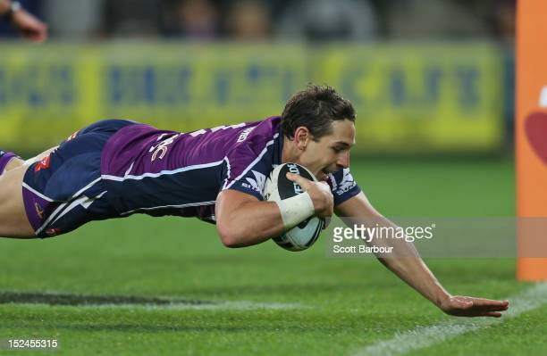 Billy Slater of the Storm scores a try in the second half during the NRL Preliminary Final match between the Melbourne Storm and the Manly Sea Eagles...
