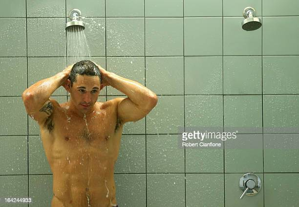 Billy Slater of the Storm showers during a recovery session at AAMI Park on March 22 2013 in Melbourne Australia