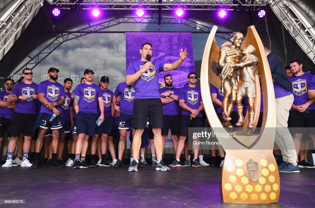 Billy Slater of the Storm speaks to the crowd during the Melbourne Storm NRL Grand Final celebrations at Federation Square on October 2, 2017 in Melbourne, Australia.