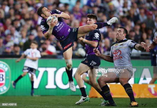 Billy Slater of the Storm takes a high ball during the 2017 NRL Grand Final match between the Melbourne Storm and the North Queensland Cowboys at ANZ...