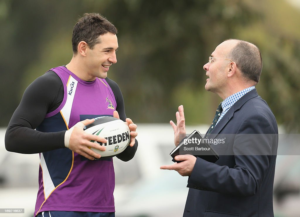 Billy Slater of the Storm talks with Mark Evans, the newly appointed Melbourne Storm CEO during a Melbourne Storm NRL training session at Gosch's Paddock on May 22, 2013 in Melbourne, Australia.
