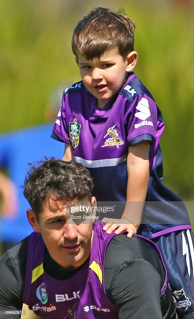 Billy Slater of the Storm trains with his son Jake Slater during a Melbourne Storm NRL training session at AAMI Park on September 23, 2015 in Melbourne, Australia.