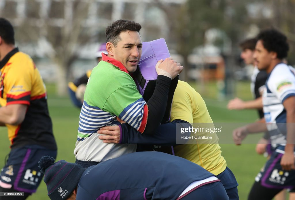 Billy Slater of the Storm warms up during a Melbourne Storm NRL training session at Gosch's Paddock on July 19, 2017 in Melbourne, Australia.