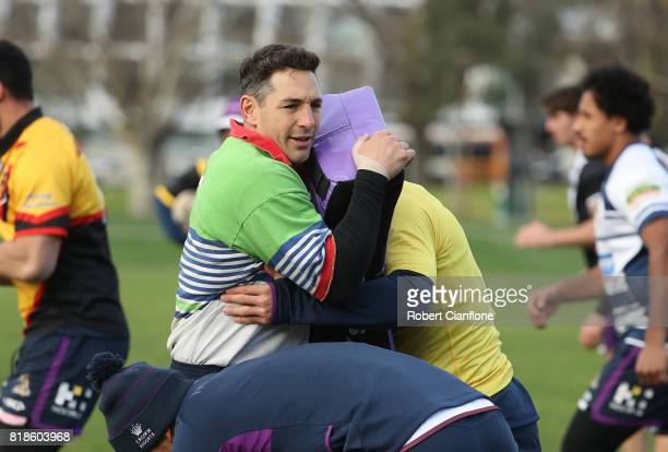 Billy Slater of the Storm warms up during a Melbourne Storm NRL training session at Gosch's Paddock on July 19 2017 in Melbourne Australia