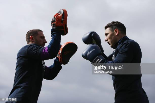 Billy Slater performs some boxing drills during a Melbourne Storm NRL training session at AAMI Park on September 5 2017 in Melbourne Australia