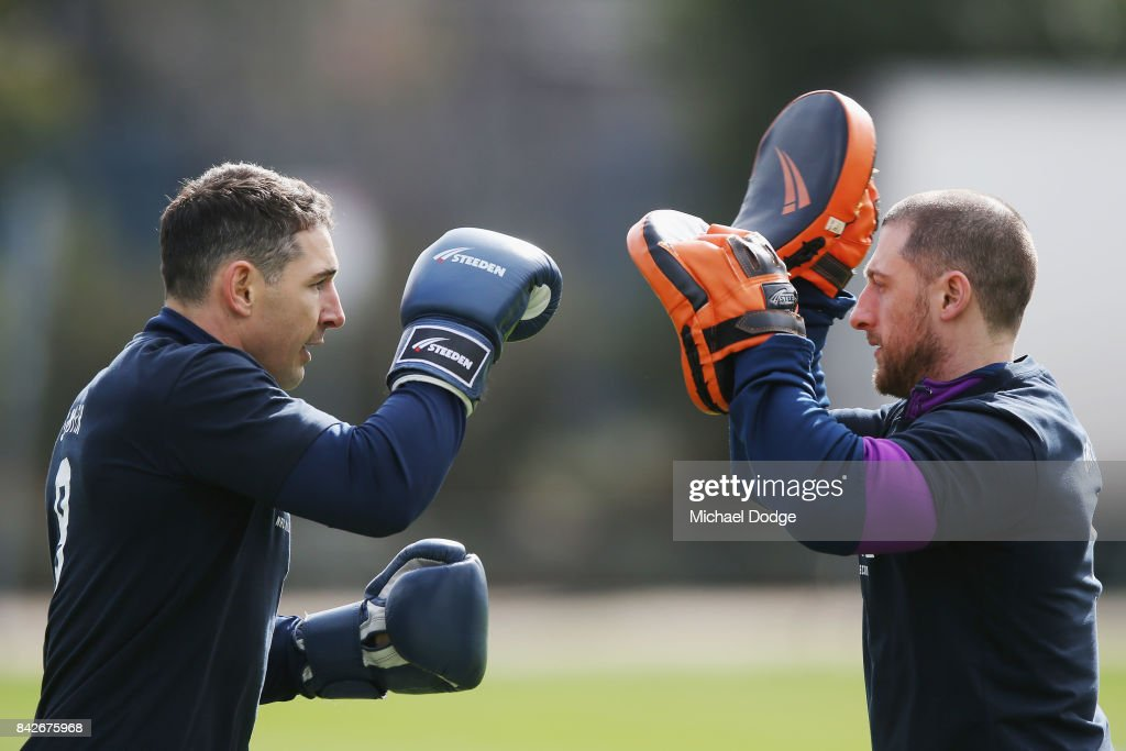 Billy Slater performs some boxing drills during a Melbourne Storm NRL training session at AAMI Park on September 5, 2017 in Melbourne, Australia.