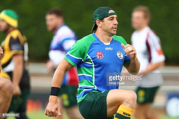 Billy Slater runs during an Australian Kangaroos Rugby League World Cup training session at Langlands Park on November 21 2017 in Brisbane Australia