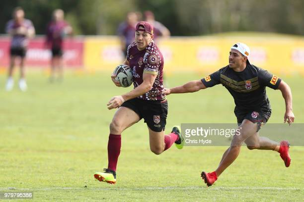 Billy Slater runs the ball during a Queensland Maroons State of Origin training session at Sanctuary Cove on June 21 2018 in Brisbane Australia