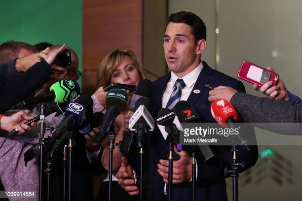 Billy Slater speaks to the media after his judiciary hearing into an alleged charging offence at NRL HQ on September 25 2018 in Sydney Australia