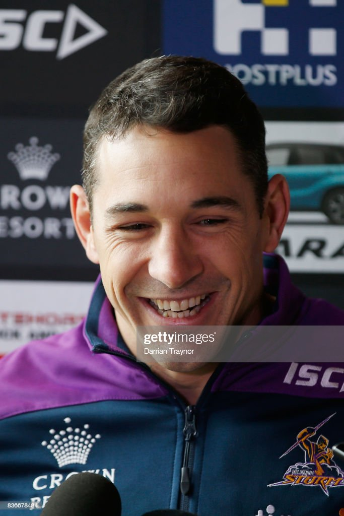 Billy Slater speaks to the media during a Melbourne Storm NRL media opportunity at the Royal Children's Hospital on August 22, 2017 in Melbourne, Australia.