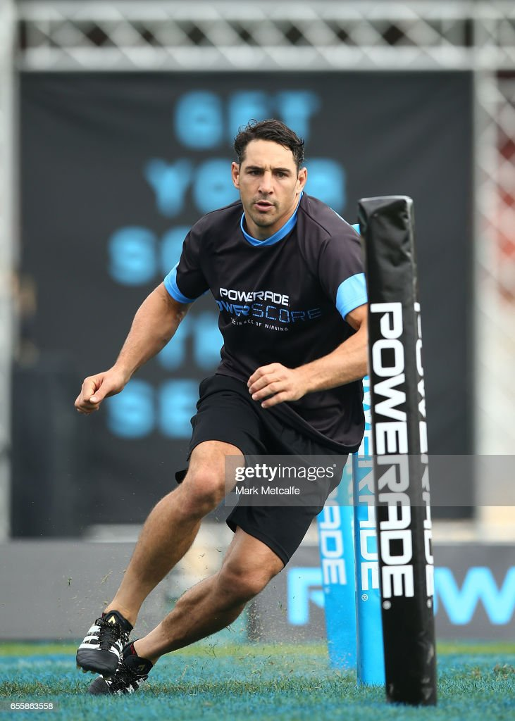 Billy Slater takes part in the agility test during the Powerade Powerscore Launch Event at North Sydney Oval on March 21, 2017 in Sydney, Australia.