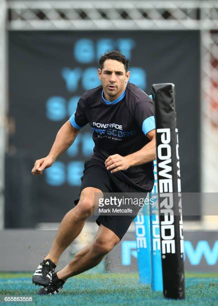 Billy Slater takes part in the agility test during the Powerade Powerscore Launch Event at North Sydney Oval on March 21 2017 in Sydney Australia