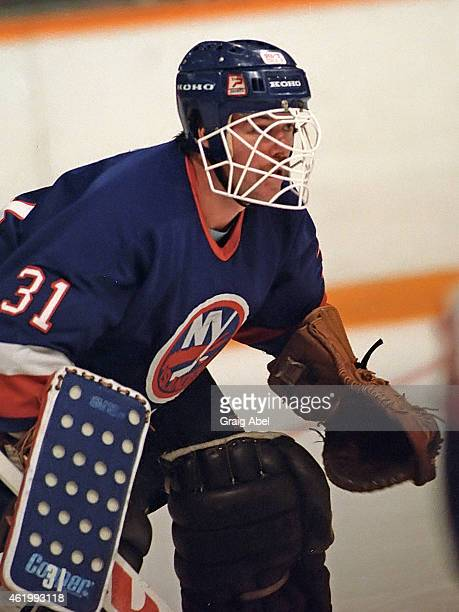 Billy Smith of the New York Islanders takes warmup prior to a game against the Toronto Maple Leafs on November 6 1985 at Maple Leaf Gardens in...