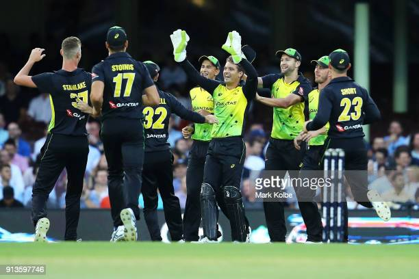 Billy Stanlake and Alex Carey of Australia celebrate with their team after combining to take the wicket of Colin Munro of New Zealand during game one...