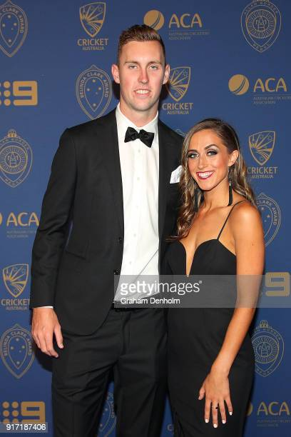 Billy Stanlake and Maddison Lochert arrive at the 2018 Allan Border Medal at Crown Palladium on February 12 2018 in Melbourne Australia