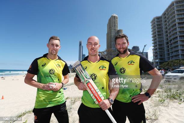 Billy Stanlake Chris Lynn and Andrew Tye pose during an Australian Twenty20 media opportunity on November 16 2018 in Gold Coast Australia