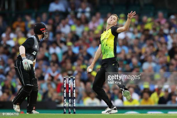 Billy Stanlake of Australia bowls during game one of the International Twenty20 series between Australia and New Zealand at Sydney Cricket Ground on...
