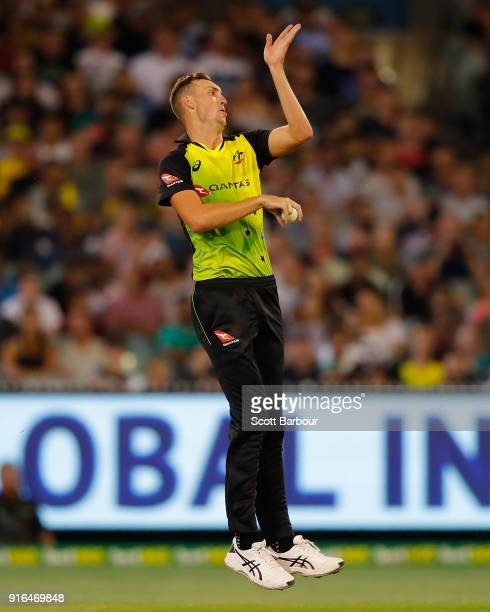 Billy Stanlake of Australia bowls during game two of the International Twenty20 series between Australia and England at Melbourne Cricket Ground on...