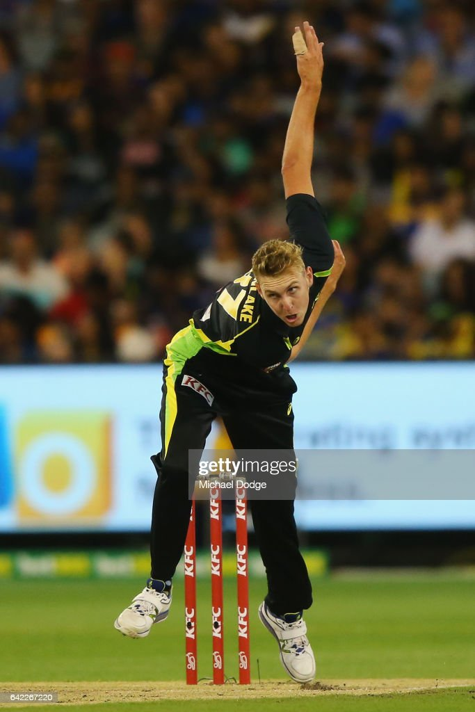 Billy Stanlake of Australia bowls during the first International Twenty20 match between Australia and Sri Lanka at Melbourne Cricket Ground on February 17, 2017 in Melbourne, Australia.
