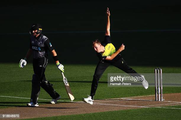 Billy Stanlake of Australia bowls during the International Twenty20 match between New Zealand and Australia at Eden Park on February 16 2018 in...