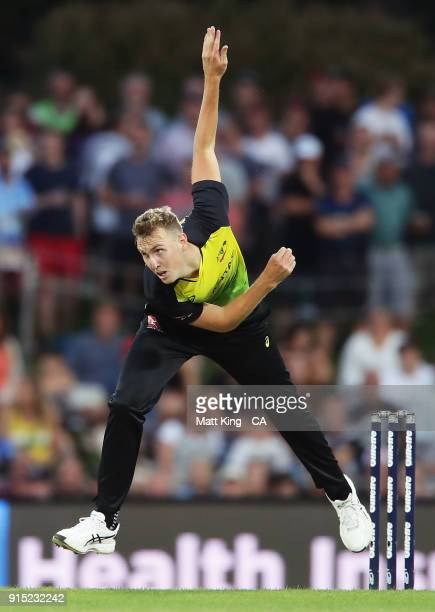 Billy Stanlake of Australia bowls during the Twenty20 International match between Australia and England at Blundstone Arena on February 7 2018 in...