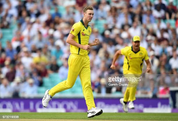 Billy Stanlake of Australia celebrates dismissing Jason Roy of England during the 1st Royal London ODI match between England and Australia at The Kia...