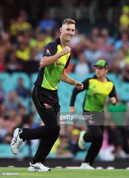 Billy Stanlake of Australia celebrates taking the wicket of Colin Munro of New Zealand during game one of the International Twenty20 series between...