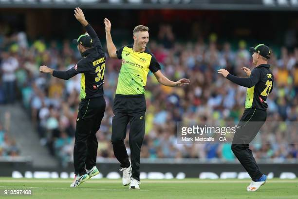 Billy Stanlake of Australia celebrates taking the wicket of Martin Guptill of New Zealand during game one of the International Twenty20 series...