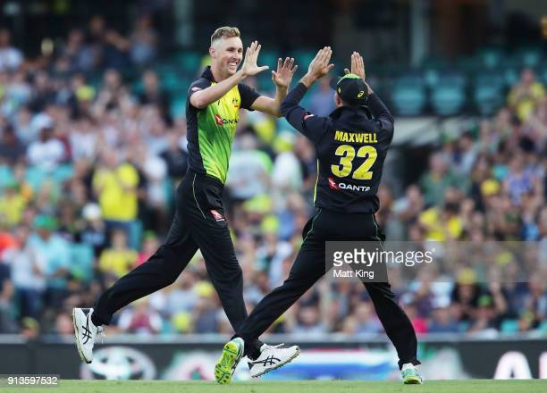Billy Stanlake of Australia celebrates with Glenn Maxwell of Australia after taking the wicket of Colin Munro of New Zealand during game one of the...