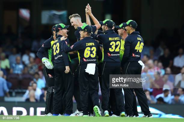 Billy Stanlake of Australia celebrates with his team after taking the wicket of Martin Guptill of New Zealand during game one of the International...