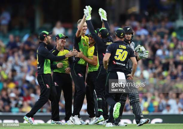 Billy Stanlake of Australia celebrates with team mates after taking the wicket of Martin Guptill of New Zealand during game one of the International...