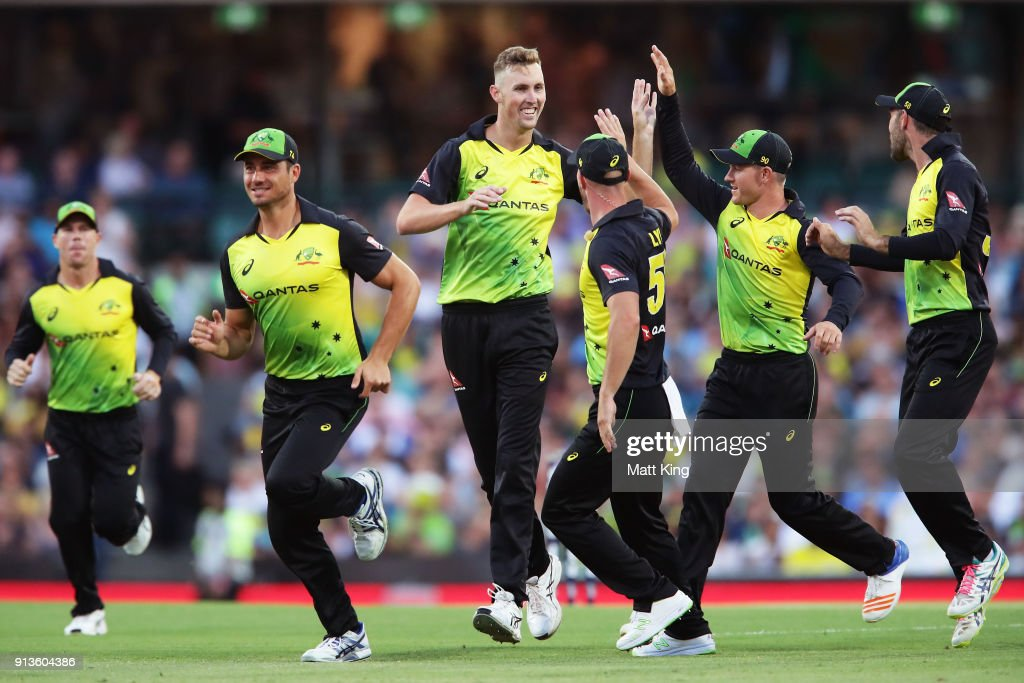 Billy Stanlake of Australia celebrates with team mates after taking the wicket of Tom Bruce of New Zealand during game one of the International Twenty20 series between Australia and New Zealand at Sydney Cricket Ground on February 3, 2018 in Sydney, Australia.