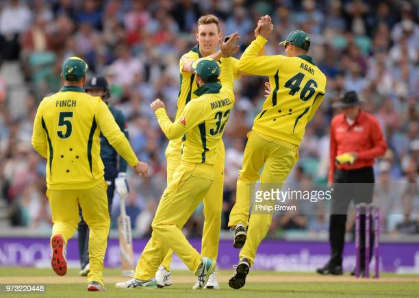 Billy Stanlake of Australia is congratulated after the dismissal of Jason Roy of England during the first Royal London OneDay International match...
