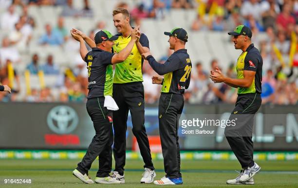 Billy Stanlake of Australia is congratulated by his teammates after dismissing Alex Hales of England during game two of the International Twenty20...