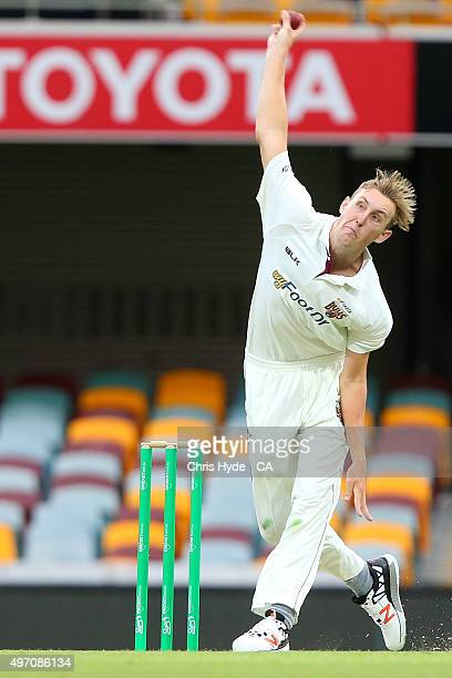 Billy Stanlake of the Bulls bowls during day one of the Sheffield Shield match between the Queensland Bulls and South Australia Redbacks at The Gabba...