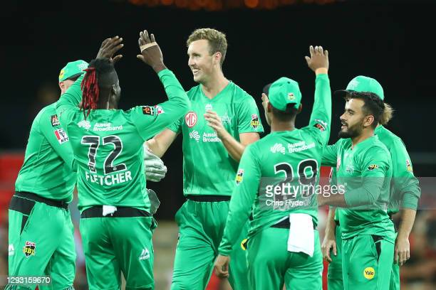 Billy Stanlake of the Stars celebrates with team mates after dismissing Jack Edwards during the Big Bash League match between Sydney Sixers and the...