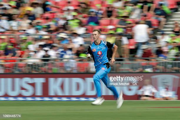 Billy Stanlake of the Strikers bowls during the Big Bash League match between the Sydney Thunder and the Adelaide Strikers at Spotless Stadium on...