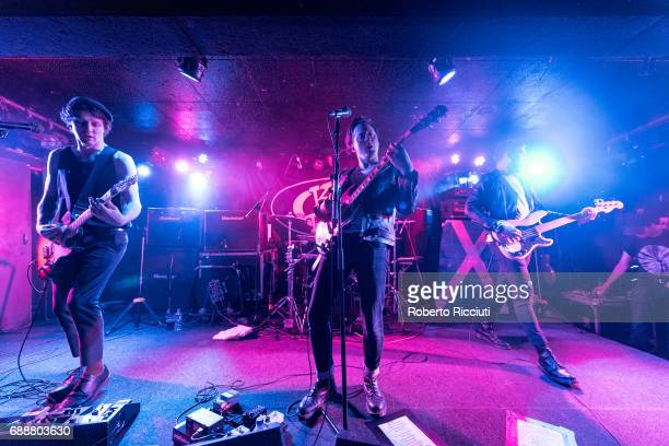 Billy Tessio Carl Barat and Adam Claxton of Carl Barat and The Jackals perform on stage at King Tut's Wah Wah Hut on May 26 2017 in Glasgow Scotland