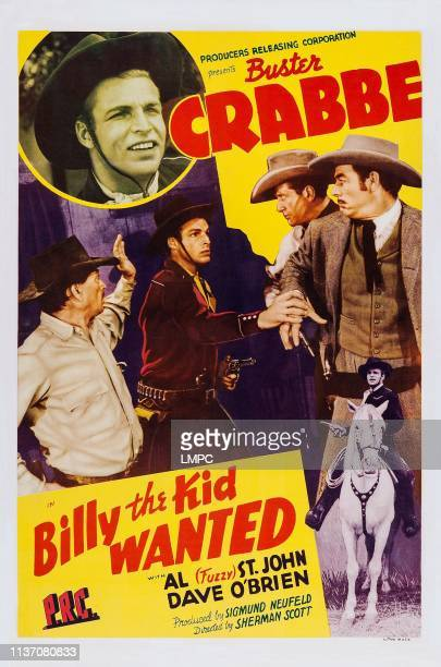Billy The Kid Wanted, poster, top: Buster Crabbe, bottom center: Dave O'Brien, bottom far right: Buster Crabbe, 1941.