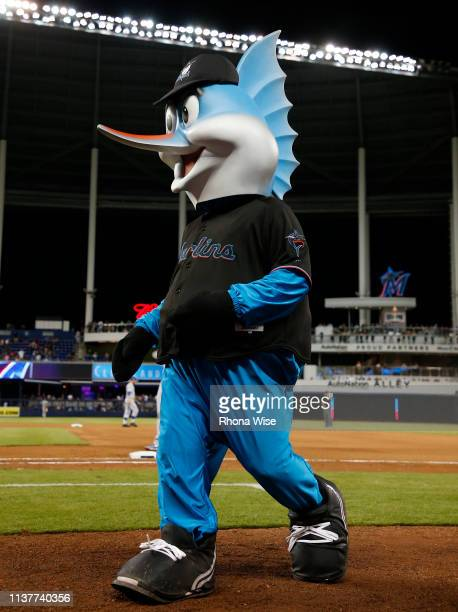 Billy the Marlin during the game between the Chicago Cubs and the Miami Marlins at Marlins Park on Monday April 15 2019 in Miami Florida