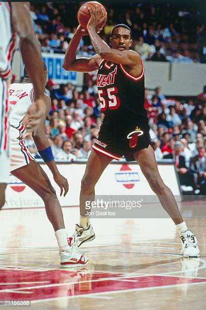 Billy Thompson of the Miami heat looks for the open man against the Los Angeles Clippers at the Los Angeles Memorial Sports Arena in Los Angeles...
