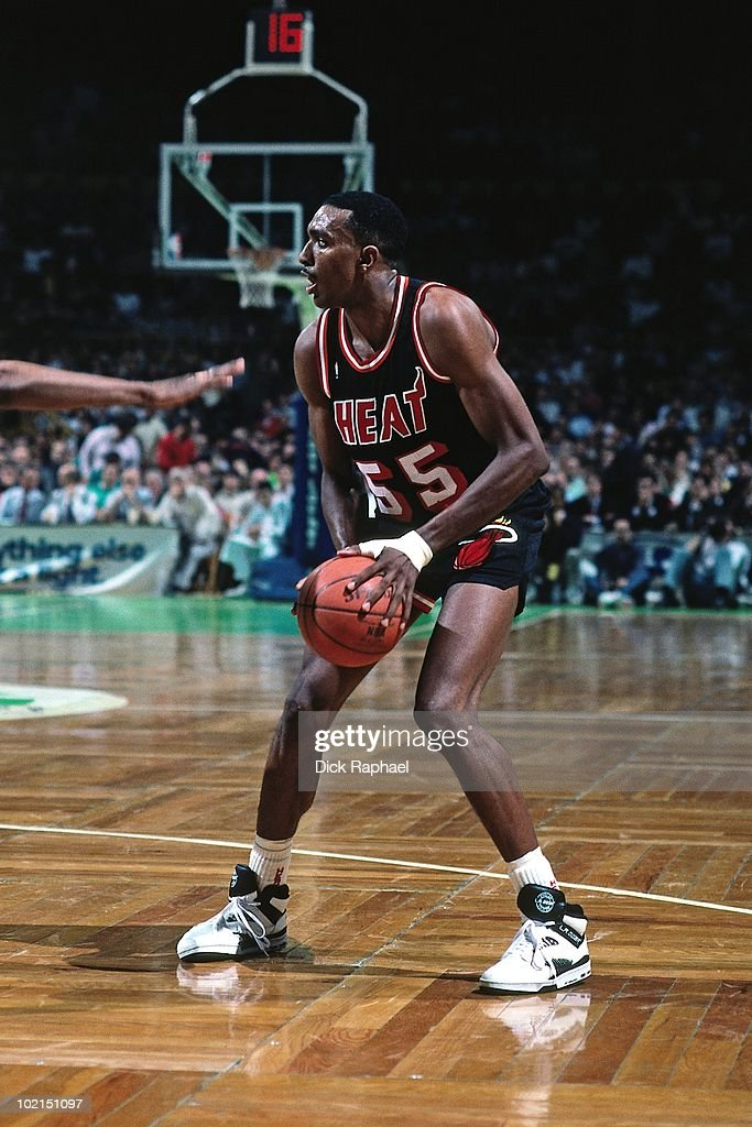 Billy Thompson #55 of the Miami Heat looks to make a play against the Boston Celtics during a game played in 1990 at the Boston Garden in Boston, Massachusetts.