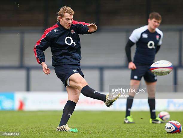 Billy Twelvetrees of England in action during a training session at the Headingley Carnegie Stadium on January 25, 2013 in Leeds, England.