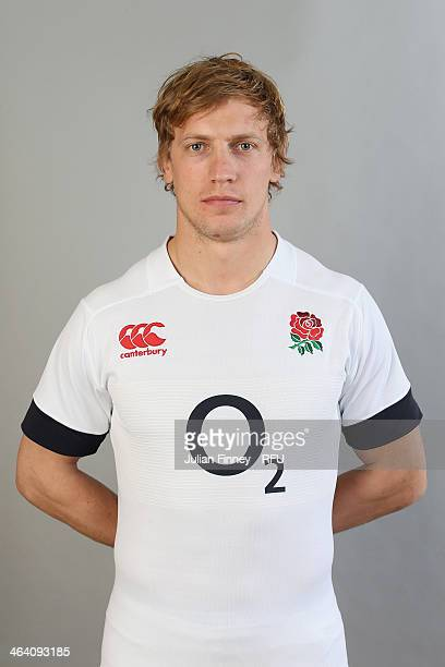Billy Twelvetrees of England poses for a portrait during the England Six Nations Squad Photo Call at the Penny Hill Hotel on January 20 2014 in...