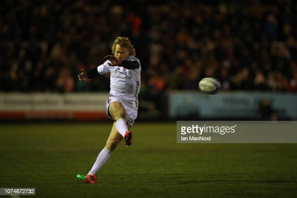 Billy Twelvetrees of Gloucester ikicks a penalty during the Gallagher Premiership Rugby match between Newcastle Falcons and Gloucester Rugby at...
