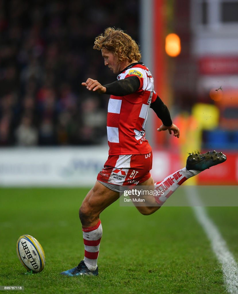 Billy Twelvetrees of Gloucester kicks a conversion during the Aviva Premiership match between Gloucester Rugby and Sale Sharks Sharks at Kingsholm Stadium on December 30, 2017 in Gloucester, England.