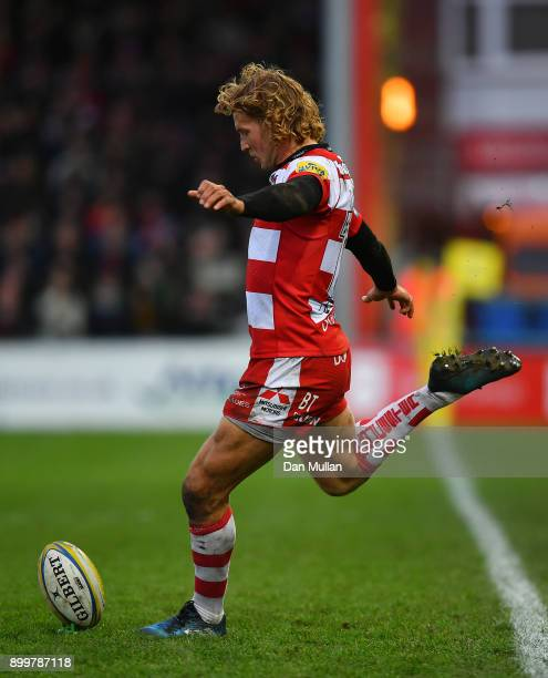 Billy Twelvetrees of Gloucester kicks a conversion during the Aviva Premiership match between Gloucester Rugby and Sale Sharks Sharks at Kingsholm...
