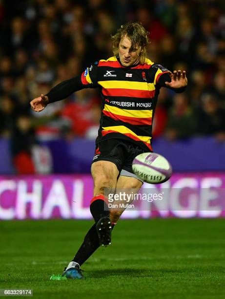 Billy Twelvetrees of Gloucester kicks a penalty during the European Rugby Challenge Cup quarter final match between Gloucester Rugby and Cardiff...